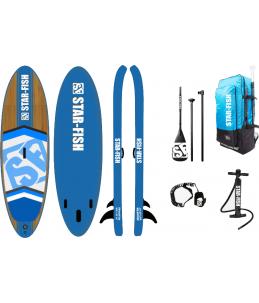 PACK línea Azul (Tabla + inflador + remo + leash + mochila transporte)